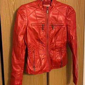 """Women's red """"leather look """" jacket"""